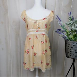 Johnny Was Cream Rose Babydoll Blouse
